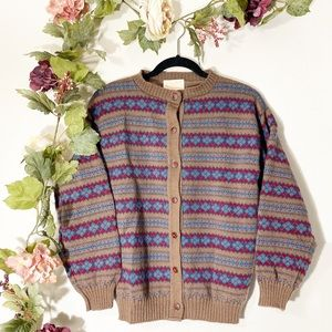 Vintage Pendleton Virgin Wool Striped Cardigan